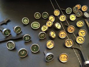 typewriter keys.green.yellow